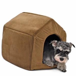 【送料無料】ペットベッド ペットハウス クッション付き マット ドーム型 小型犬 2WAY 犬猫用 寝床 洗える Mサイズ