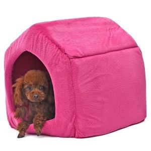 【送料無料】ペットベッド ペットハウス クッション付き マット ドーム型 小型犬 2WAY 犬猫用 寝床 洗える Sサイズ