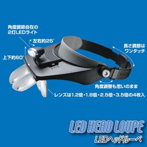 LEDライト付きヘッドルーペ ハンズフリー レンズ×4/レンズケース付き
