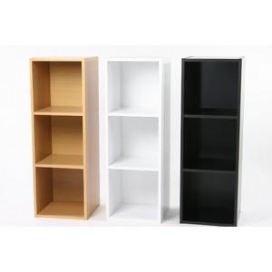 レコードラック(LP収納用ラック)/バイナルボックス 木製 3段 VL-3 ブラック(黒)