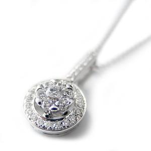 ダイヤモンド ネックレス K18 ホワイトゴールド 0.23ct 7ダイヤ コロネットセッティング Hカラー SIクラス バケットダイヤ 0.23カラッ・