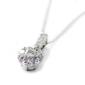 ダイヤモンド ネックレス K18 ホワイトゴールド 0.4ct 7ダイヤ コロネットセッティング Hカラー SIクラス バケットダイヤ 0.4カラット