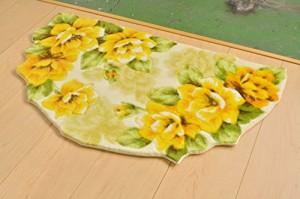 玄関マット 屋内 半円 北欧 おしゃれ 半円 黄色 イエロー rose 45x75cm