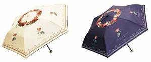 サントス 晴雨兼用 折りたたみ傘 UVカット 50cm ルドゥーテ ローズ 紺 JK-57-02