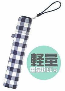 折りたたみ傘 【 スーパーライト/ギンガム ミニ 】 ネイビー BE-02754