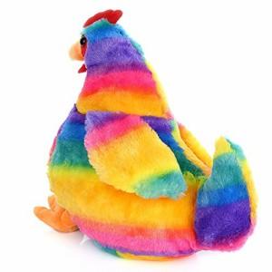 カラフルなニワトリのぬいぐるみ 動物デザインのおもちゃ 35cm
