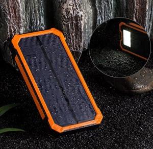 ソーラーチャージャーLEDライトSOSレスキュー 10000mAh 大容量ソーラーチャージャー モバイルバッテリー 2USBポー