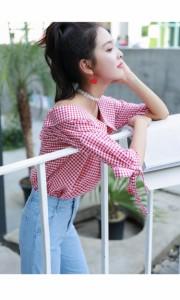 袖リボンと大きめの襟がかわいい☆オフショルダー ギンガムチェックシャツ ブラック/レッド S/M/L 【お取り寄せ商品】 ANGE0214