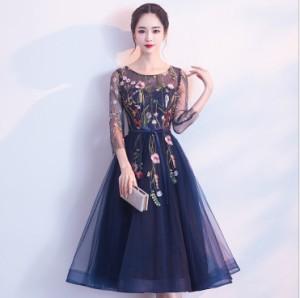 パーティー ドレス 七分袖 ミモレ丈 ロング丈 チュール 刺繍 花柄 結婚式 お呼ばれ ワンピース mme4637