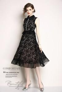 パーティー ドレス ノースリーブ ミモレ丈 ロング丈 レース チュール 刺繍 結婚式 お呼ばれ ワンピース mme4638