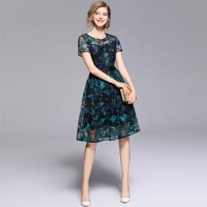 パーティー ドレス 半袖 ひざ丈 ひざ下丈 花柄 チュール 刺繍 結婚式 お呼ばれ ワンピース 二次会 mme4652
