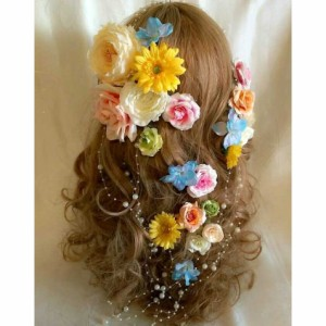 ボリューム髪飾り 造花 アートフラワー ラプンツェル風髪飾り