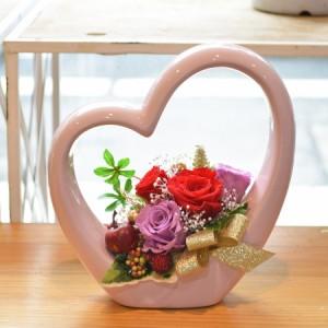本州送料無料 プリザーブドフラワー ハート型デザイン陶器 4輪バラ アレンジメント レッド クリアケース付