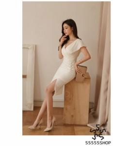 [55555SHOP]レディース 新作 ワンピース 二次会 通勤 パーティー 結婚式 ミドル 通勤  セクシー ドレス