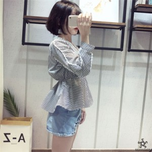 [55555SHOP]??買い逃し注意???2018新柄追加?韓国ファッション   Vネック  トップス  半袖  ゆったり  体型カバー