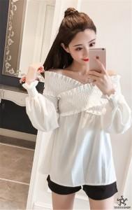 [55555SHOP]18年新作登場?限定発売?高品質で?韓国ファッション   オフショルダー   トップス   可愛い  細身