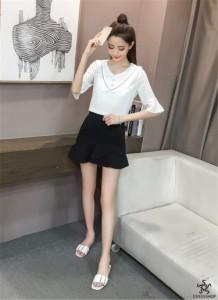 [55555SHOP]★新製品の入荷★韓国ファッション?レデイース    バタフライスリーブ    Vネック   半袖