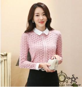 [55555SHOP]韓国ファッション Tシャツ/裏起毛 シフォンブラウス 長袖ブラウス 刺繍入り