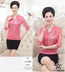[55555SHOP]中年女性は、負荷の母親の大サイズの長袖Tシャツ中年女性の春袖の薄いシャツ
