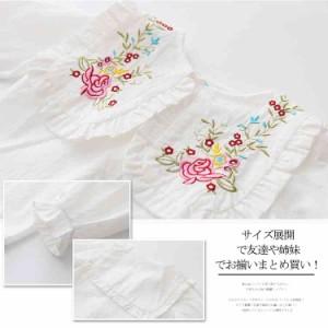 子供服 花柄刺繍トップス 女の子 シャツ ブラウス ストライプ柄 刺繍 トップス 春服 春物 子ども こども 90cm 100c