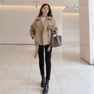 【カッコイイ大人女子のトレンチ+ライダースMIX!!】ショートトレンチジャケットコート