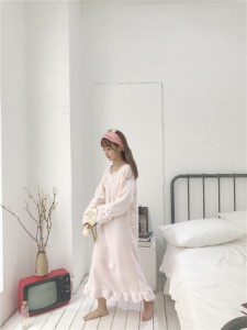 【送料無料】新作♪パッド入り ロング丈 ふわふわパジャマドレス 秋冬 yk0297swt