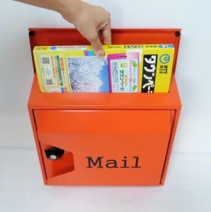 郵便ポスト郵便受けスタンド型メールボックス プレミアムステンレス オレンジ色ポスト  pm18s-pm044
