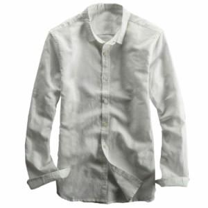 リネンシャツ 白シャツ 秋物 綿麻シャツ メンズ 長袖 2017秋 新作 スウェット スリム 大きいサイズ