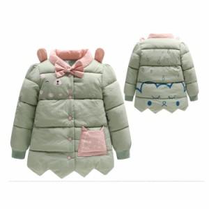 肩にクマ耳付いて、個性的なデザインであるキッズ中綿入りコート キッズキルティングライナー 女の子アウター 子供アウター クールネ