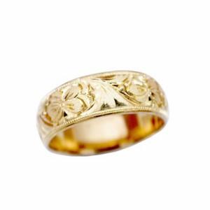 指輪 大きいサイズ 鍛造(たんぞう) K18平甲丸スミレ彫リング巾6mm8g ゴールドリング 彫金 ペア オリジナル