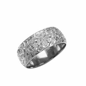 指輪 大きいサイズ 鍛造(たんぞう) Pt900平甲丸桜彫リング巾8mm18g プラチナリング 彫金 マリッジ オリジナル
