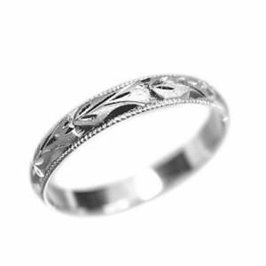 指輪 大きいサイズ 鍛造(たんぞう) 純プラチナ(Pt999)甲丸スイートピー彫リング巾3mm4.5g プラチナリング 彫金 マリッジ オ