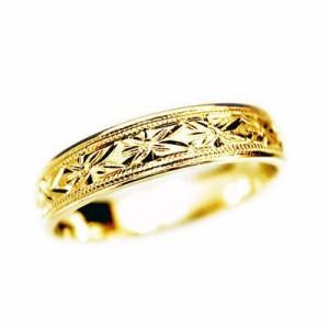純金 指輪 大きいサイズ 鍛造(たんぞう) K24平打忘れな草彫リング巾4mm9g ゴールドリング 彫金 オリジナル