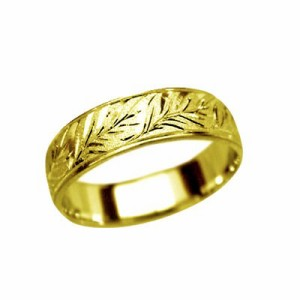 指輪 鍛造(たんぞう) K18平打(ひらうち)モンステラ彫リング巾5mm5g ゴールドリング 彫金 ペア マリッジ オリジナル