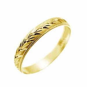 指輪 大きいサイズ 鍛造(たんぞう) K18甲丸玉つき月桂樹彫リング巾3mm5g ゴールドリング 彫金 ペア マリッジ オリジナル