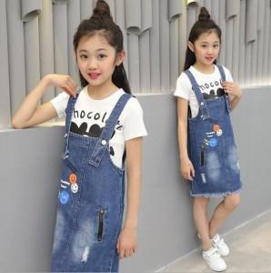 4787d46e397b0 セットアップ 女の子 キッズ オーバーオール サロペット Tシャツ+スカート2点セット 子ども ジュニア可愛い 春