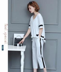 セットアップ レディース 夏  ファッション  カジュアル 2点セット 上下セット 半袖 大きいサイズ 新作