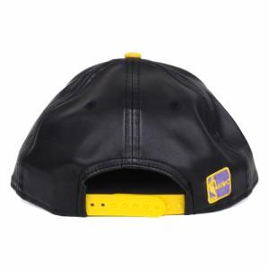 NBA レイカーズ レザー スムースリー スターテッド スナップバック キャップ/帽子 ニューエラ/New Era ブラック レアアイテム