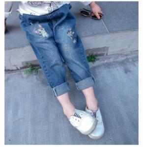 送料無料 刺繍入りデニムロングパンツ ダメージ加工 キッズ 女の子 ガールズ 子供服 ジュニア ボトムス ジーンズ ジーパン