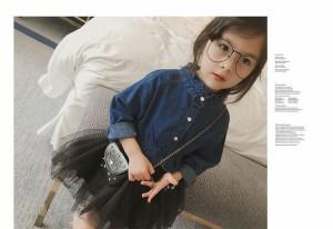 5ced6127c57ad フリルスタンドカラーワンピース 女の子 キッズ 子供服 韓国子供服 春秋冬 デニムシャツ チュールスカート