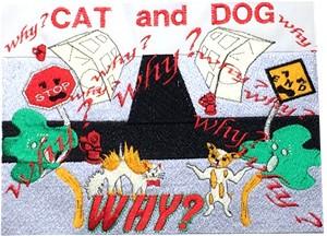 送料無料 CAT&DOG WHY?(DENIM、スカイブルー)/ WABAG刺繍バッグ 10代〜30代ガーリー系&レディース