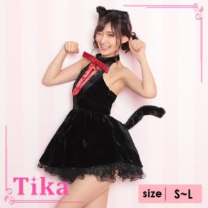 3666190a9e9 Tika ティカ 4set レトロ キャット 猫 ブラック コスチュームセット S M L ワンピース カチューシャ 猫耳 リボン しっぽ