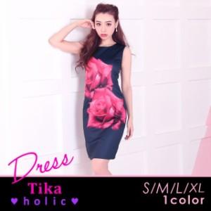 d99b4f88d2f10 Tikaholic ティカホリック (S M L XL) 薔薇プリントタイトミニドレス