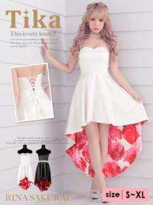 68a5869e0f655 桜井莉菜 ドレス着用 Tika ティカ 薔薇柄ベアトップロングテールドレス (ホワイト