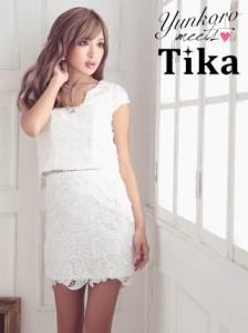 e8a7e753699f3 Tika (S M L XL) 半袖総レースタイトミニドレス ネイビー 白 キャバドレス ドレス パーティドレス lサイズ キャバ ドレス