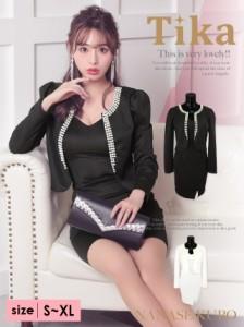 067b3fe4db215 Tika ティカ 美シルエットパール付きジャケットスカートセットアップドレス スーツドレス (ブラック