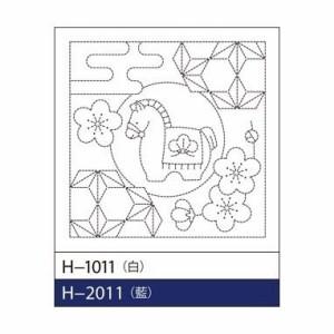 オリムパス 刺し子  花ふきん H-2011 午と飛び麻の葉 (藍)