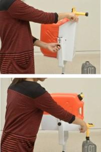 灯油ポリタンク専用コック「コッくんトーユ」18リットル用スタンドセット 灯油ポンプ 電動ポンプの欠点を解消