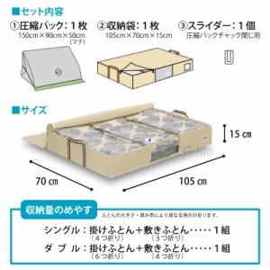 収納 袋 付 圧縮パック ふとん   圧縮 BOX 圧縮袋 布団 圧縮袋 収納袋 布団ケース 衣替え 収納 押入れ