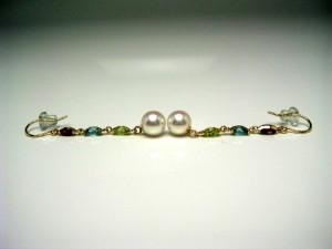 真珠 パール アコヤ真珠 フック ピアス 真珠ピアス パールピアス 5.75-6mm K18 イエローゴールド 天然石 54833